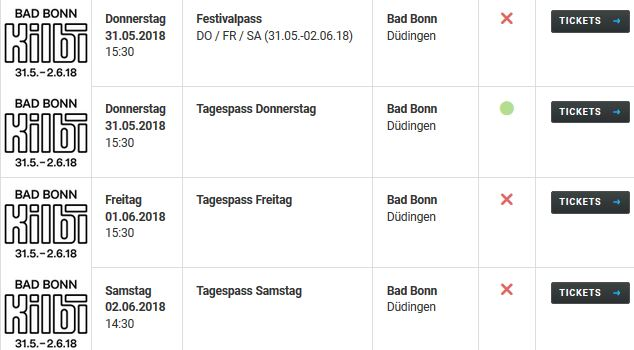 Bad Bonn Kilbi Tickets 2017