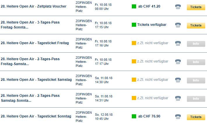 Heitere Openair Tickets 2017