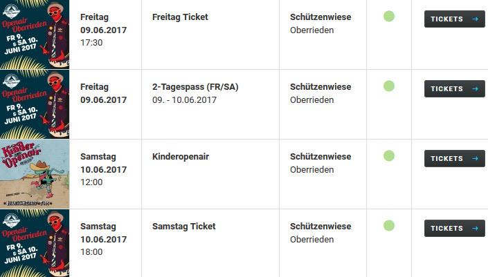 Openair Oberrieden Tickets